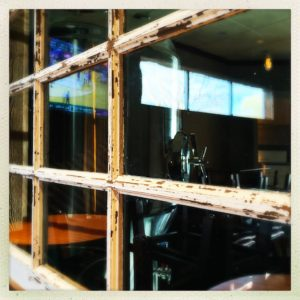 view through window of restaurant dining room