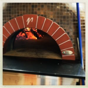 front view of wood fired brick oven