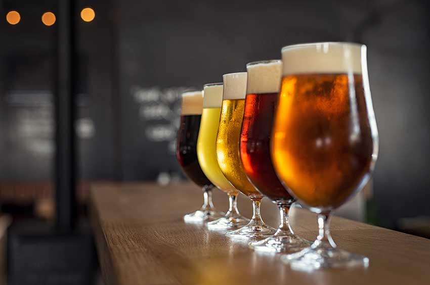 pints of sonoma county craft beers on bar